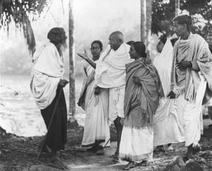 Mahatma Gandhi's greets and aged Muslim Peasant during his tour of Noakhali, undertaken to bring about Hindi-Muslim unity.